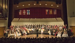 GRAND FINALE, 2007:   Pictured is festival host Gary Lamprecht directing the Grand Finale at the inaugural California International Choral Festival and Competition. - PHOTO BY STEVE E. MILLER