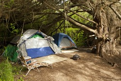 TEMPORARY HOME:  Homeless encampments, like this Morro Creek campsite from 2012, are a housing option for many of SLO County's unsheltered homeless, but they're also subject to law enforcement whim. - FILE PHOTO BY STEVE E. MILLER