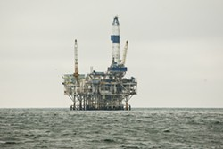 MAKING WAVES:  Though the Santa Barbara Channel has long been home to drilling platforms—as pictured—Central Coast politicians are upset over the recent discovery of previously unknown fracking in the channel. Elected officials want to know exactly where the contested hydraulic fracturing might be happening (it's not necessarily at the platform in the photo), and have asked for a federal probe. - FILE PHOTO BY STEVE E. MILLER