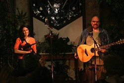 TWO ON THE TOWN! :  Singer-songwriter Darryl Purpose (right) and fiddler Julie Beaver will play Coalesce on July 13. - PHOTO COURTESY OF DARRYL PURPOSE AND JULIE BEAVER