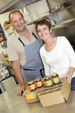 HAPPY WITH GOOD REASON :  Claude Chazalon and his wife Chrystel produce some of the most delectable treats to be found in jars. - PHOTO BY STEVE E. MILLER