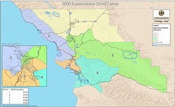 AFTER:  Between 1990 and 2000, SLO County's supervisorial districts underwent dramatic changes. As county officials redraw district boundaries again, such a transformation is just as likely. - IMAGES COURTESY OF SLO COUNTY