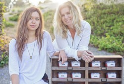 LOCAL SALSA:  Mother/daughter team Anne (right) and Ali Altamirano of Mesa Salsa, a specialty salsa company based in Santa Barbara, will serve their preservative-free products during the weekend's Neighborhood Tasting. - PHOTO COURTESY OF MESA SALSA CO.