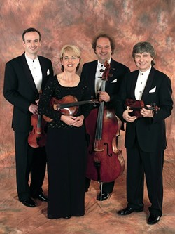 STRING FLING:  The Takacs String Quartet—K·roly Schranz and Edward Dusinberre (violin), Geraldine Walther (viola), and Andr·s Feje r (cello)—play Nov.24 in Cal Poly's Spanos Theatre. - PHOTO COURTESY OF THE TAKACS STRING QUARTET