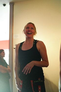 FIGHTING SPIRIT!:  Collaborative Combative Drawing is the brainchild of Melissa Wyman, who will recreate the experience for 16 lucky participants of the workshop on Aug. 10 at SLOMA. - PHOTO BY GLEN STARKEY