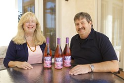 ROSEY FUTURE :  Maurice and Susie Wedell showcase their Rosé wine that is produced solely to provide money for breast cancer research. - PHOTOS BY STEVE E. MILLER