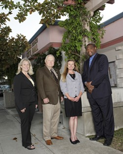 GROVER BEACH :  Two candidates are running for mayor, and three candidates are vying for two seats on the city council. From left to right: Debbie Peterson, Chuck Ashton, Karen Bright, and John Shoals. Liz Doukas is not pictured. - PHOTO BY STEVE E MILLER
