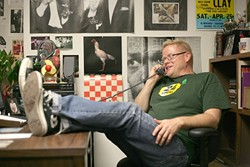 NOW:  Morning Cup host and Music Director Neal Losey kicks back in his KCBX 90.1FM office now, a quarter century after he first took to the airwaves. - PHOTO BY GLEN STARKEY
