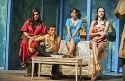 SOUNDS LIKE:  From left to right: Mrs. Siezmagraff (Sarah Gamblin), Buck (Jacob Corsaro), Trudy (Maddie Pomaro), and Betty (Karlee Benner) play a tense game of charades. - PHOTO COURTESY OF IAN BILLINGS