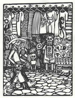 BLACK MARKET:  Kalionzes' prints are heavily inspired by the playful, gothic imagery of the traditional Mexican celebration, Dia de los Muertos. - IMAGE COURTESY OF STUDIOS ON THE PARK