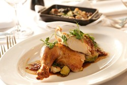 BEAUTIFULLY PAIRED :  Artisan's special Monday Night Supper is created just for pairing with local wines. - PHOTO BY STEVE E. MILLER