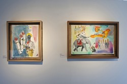 PYRO PANDA :  Neal Breton's bright watercolors depict absurd, often comical situations. Pictured is Cowboy Diplomacy (left) and Wake Up. - PHOTOS BY STEVE E. MILLER