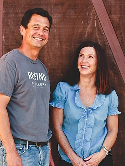 DISTILLERS OF SLO:  Alex Villicana (left) serves as the president of Distillers of SLO County, the nonprofit trade association uniting SLO's growing craft spirit industry. Alex and Monica Villicana (right) operate Re:Find Distillery in Paso Robles. - PHOTO COURTESY OF RE:FIND DISTILLERY