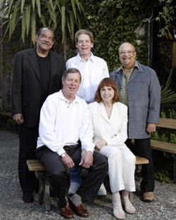 CAMBRIA'S OWN JAZZ COLONY :  Standing, left to right: Ernie Watts, Jay Graydon, and Red Holloway. Seated: Charlie and Sandi Shoemake. - PHOTO BY STEVE E. MILLER