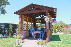 INDOORS OUTSIDE:  Sandy and Virgil Clarke's shed constructed by A Place to Grow offers the couple a break from the afternoon wind as well as a shady spot to enjoy some wine. - PHOTO BY JOE PAYNE