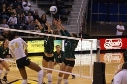 IN THE GAME:  Gabrielle Rivera along with Cal Poly women's volleyball team, taking on Cal State Long Beach. - PHOTO COURTESY OF GABRIELLE RIVERA