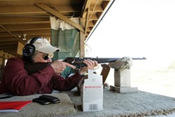 THE BADASS :  Though nearing 70, former U.S. Marine Corp Captain Jo Ann Wheatley is still deadly accurate and passes on her expertise onto other women in Pistol Safety & Handing classes. The former Cal Poly professor is also an NRA Certified Instructor. - PHOTO BY STEVE E. MILLER