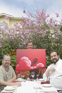 MR. BIG :  Winemaker Stillman Brown (center) is eager to party with poet Elvis Kokopelli (left) and Chef Bill Hoppe at his benefits to aid Cal Poly viticulture students. - PHOTO BY STEVE E. MILLER