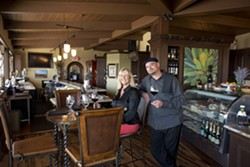COMFORT AND A VIEW :  One long side of the Bella Vino bar and dining area has an expansive view of the Morro Bay Embarcadero and ocean. Owner Kathy Cohen and GM/Sommelier Aaron Warren will cater to your every need. - PHOTO BY STEVE E. MILLER