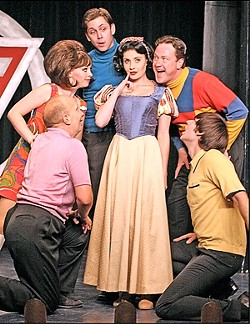 YELLOW SNOW? :  In the Melodrama's Villain's Vaudeville Review, Snow White (Katie Worley) trades in her good girl image, with the help of various nefarious villains, played by (clockwise from bottom left) Billy Breed, Natasha Harris, Andrew Beck, Chuck McLane, and John Keating.
