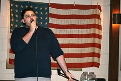 NOTHING IS SACRED:  Atascadero's own comedian Mike Zalusky battles his demons with wit and absurdity at Tent City Brewing Company on May 5. - PHOTO BY HAYLEY THOMAS