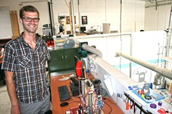 IN 3-D:  Sven Gasser, pictured next to a 3-D printer, serves as SLO Maker Academy Camp Director at SLO Makerspace. - PHOTO BY HAYLEY THOMAS