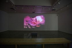 "FACE OF DEATH:  Kevin Hanley's ""On Another Occasion"" starts out as a blurry mass of color and then, ever so slowly, focuses into a - clear image of a very dead looking Fidel Castro. - PHOTO BY KAORI FUNAHASHI"