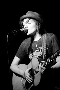 PERCUSSIVE! :  On Jan. 13, The Porch will host Kat Devlin, a passionate and percussive performer in the Ani DiFranco vein, during Steve Key's Songwriters at Play showcase. - PHOTO COURTESY OF JAMES HURLEY