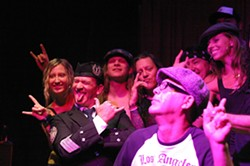 HELL AIN'T A BAD PLACE TO BE! :  (Left to right) Concertgoer Joanne Halvorson, bagpiper Paul Dunn, lead guitarist Josh Blodgett, lead singer Kelly Atwell, contest winner and birthday boy Damon Haydu, bassist Andy Shellcross, and New Times graphic designer Dora Mountain take to the stage after the show. - PHOTOS BY GLEN STARKEY