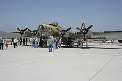 RAINING DEATH :  The Boeing B-17 Flying Fortress is a long-range heavy bomber that could fly long distances, protect itself, and continue to fly despite damage. - PHOTOS BY GLEN STARKEY