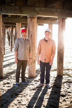 BEACH BOYS:  Cayucos locals Dane Jacobs (left) and Patrick Martinez (right) are proud owners of Reef Points Hard Cider, which produces small, handcrafted batches of bone dry apple goodness made for the beach blanket or five-course meal. - PHOTO BY KAORI FUNAHASHI