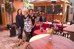 WINE, FOOD AND BOOKS:  Owners (l-r Jill Knight, Lyn Nanni, and Eileen Nunes along with Willow (the dog) have recently opened a spacious indoor and outdoor wine bar that serves food and has a variety of books for sale. - PHOTO BY STEVE E. MILLER