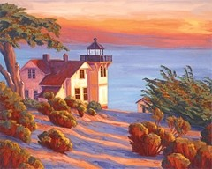 """LIGHTING THE WAY :  """"Solstice Light, San Luis Lighthouse,"""" a painting by SLOPE artist Laurel Sherrie, will be raffled to attendees of the Lighthouse Impressions art show. - PHOTO BY LAUREL SHERRIE"""