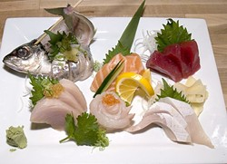 """CHEF'S CHOICE:  The omakase plate, literally meaning """"I'll leave it to you,"""" allows the sushi chef to choose the sashimi providing six types of raw fish. - PHOTO BY DAN HARDESTY"""
