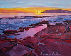 BEFORE SUNSET:  Jayne Schelden's latest exhibit explores local landscapes with vivid colors, as seen in 'Palisades Sunset.' - IMAGE BY JANE SCHELDEN