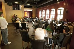 WHAT HAPPENED?:  Customers and employees of Cielo Cantina gathered to discuss what happened on a recent weekend night and why some people were boycotting the business. - PHOTO BY STEVE E. MILLER