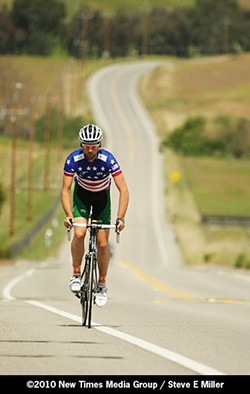 PEDAL POWER :  Blake Anton overcame ulcerative colitis to win the USA Cycling National Collegiate Road Championship in a photo finish. - PHOTO BY STEVE E. MILLER