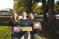 SWEET IDEA :  Yoga instructors (left to right) Eva Klembarova, Valerie Mantzoros, and Cindy Toda also make cookies sold as healthy alternatives to everyday dessert or snack fare. - PHOTO BY STEVE E. MILLER