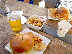 FUEL:  Before we march the long way up to the Santa Barbara Bowl, we power up with some pub grub from The Shop Cafe, the place in-the-know locals go before a concert. - PHOTO BY GLEN STARKEY
