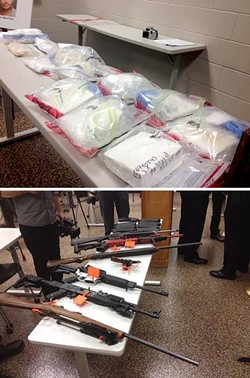 BIG BUST:  SLO County Sheriff's deputies recovered more than 5 kilos of cocaine and multiple firearms during the bust of a major cocaine distribution ring operating in the county. - PHOTOS BY CHRIS MCGUINNESS