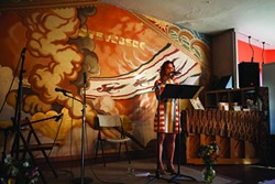 ST. JOHN'S PLACE:  Leslie St. John flattened the house were her deeply affecting poems on Sept. 28 in the Steynberg Gallery. - PHOTO BY COLIN RIGLEY