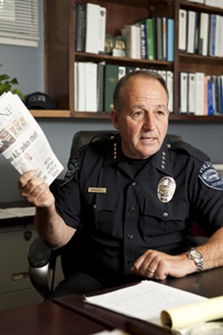 'I'M AN OPEN BOOK':  He wasn't specifically named as the bad guy, but three decade-old complaints from AGPD Chief Steve Annibali's past tenure at a small Colorado department has him defending his record as a department reformer. - PHOTO BY STEVE E. MILLER