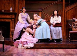 THE MARCH FAMILY:  The four March sisters—Meg (Sarah Girard, upper left), Beth (Renee Wylder, lower left), Amy (Brittney Monroe, lap), and Jo, (Karin Hendricks, far right)—and their mother (Elizabeth Stuart, center), receive a letter from a faraway Mr. March in PCPA's Little Women, the Broadway Musical. - PHOTO BY LUIS ESCOBAR, REFLECTIONS PHOTOGRAPHY STUDIO