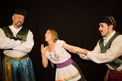 LOVE TRIANGLE:  This production of The Merry Widow combines the forces of both Cal Poly music students and local professionals like Phill Edwards (left), Kristina Horacek (center), and Paul Osborne (right). - PHOTO COURTESY OF CSPOT AND OPERASLO