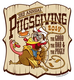 PUGTASTIC!:  Don't miss this year's Pugsgiving on Nov. 8 at the Pismo Beach Gold Course—it's a fundraiser for the Central Coast Pug Rescue. - IMAGE COURTESY OF CENTRAL COAST PUG RESCUE