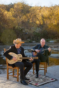 THIRTY YEARS GONE!:  Former Blasters members Dave Alvin and Phil Alvin have teamed up to record their first new studio album in 30 years, a tribute to Big Bill Broonzy, selections from which they'll play June 13 at the Live Oak Music Festival. - PHOTO BY BETH HERZHAFT