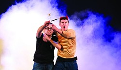 BEWITCHED, BOTHERED, AND BEWILDERED:  James Percy (glasses; left) and Delme Thomas (horns; right) are the stars of the laugh-out-loud production Potted Potter, which attempts to stuff all seven 'Harry Potter' books into 70 minutes. - PHOTO COURTESY OF CAL POLY ARTS