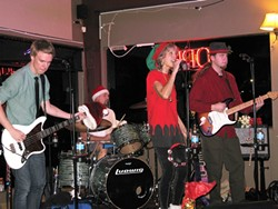 DICEY DOGS:  Risky Whippet—a band made up of family members Wendelin Van Draanen, Mark Parsons, Colton Parsons, and Connor Parsons—plays dance rock with a seasonal twist for their second annual Christmas show at Shell Café in Pismo Beach on Dec. 21. - PHOTO COURTESY OF RISKY WHIPPET