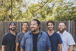 STRAIGHT OUTTA HAWAII:  (left to right) Joseph Dickens, Adam Taylor, Micah Pueschel, Cayson Peterson, and Micah Brown are Iration, playing Reggae on the Range at Pozo Saloon on Sept. 20. - PHOTO COURTESY OF IRATION