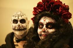 EL DIA DE LOS MUERTOS!:  Jay Mueller and Deborah Maggipinto got into the spirit of Mexico's Day of the Dead celebration. - PHOTO BY GLEN STARKEY